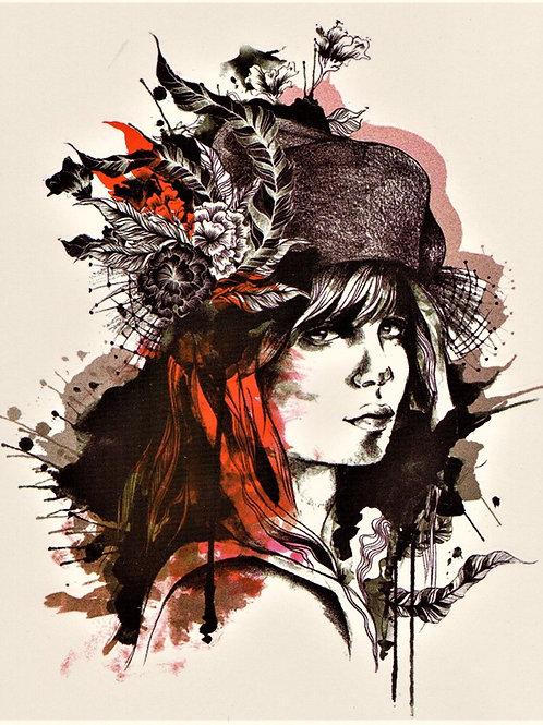 Frau Hut schwarz Rot