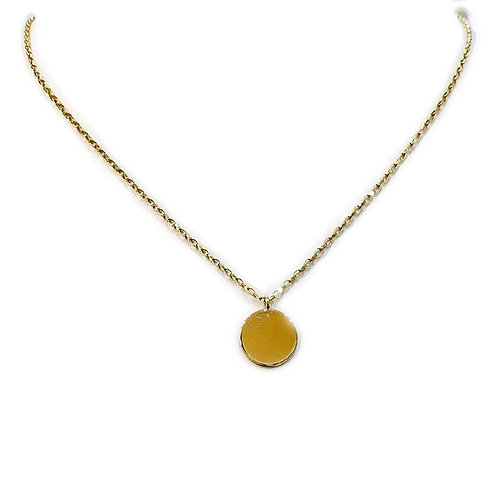 Solid Gold Diamond Cut Chain And Small Disc Necklace