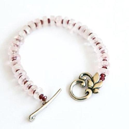 Rose quartz & Granet Gemstone Bracelet