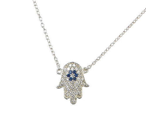 Hand of Hamsa Silver Necklace