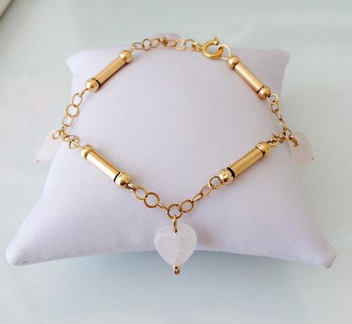 Hearts Icon Rose Quartz Bracelet