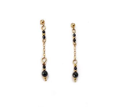 Hematite Drop Gold Earrings