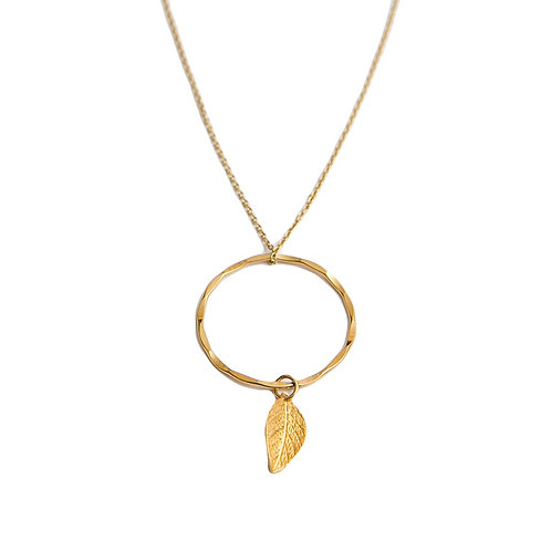 Infinity Gold Ring Necklace With A Leaf