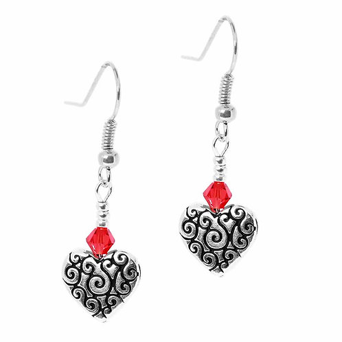 Red Detailed Hearts Earrings