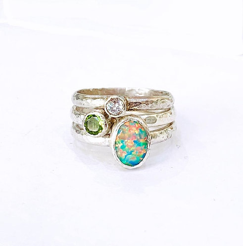 Fire Opal, Peridot and CZ Silver Rings Set