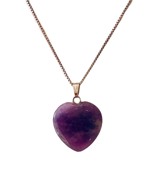 Amethyst Heart Gemstone Necklace