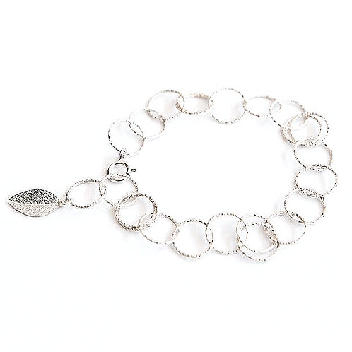 Diamond Cut Silver Leaf Bracelet