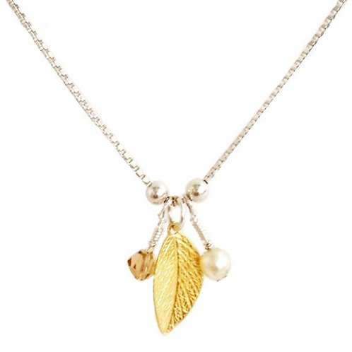 Pearl And A Gold Leaf Necklace