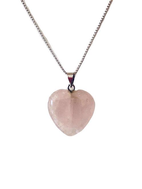 Rose quartz Heart Gemstone Necklace