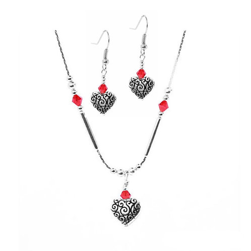 Red Detailed Hearts Drop Set