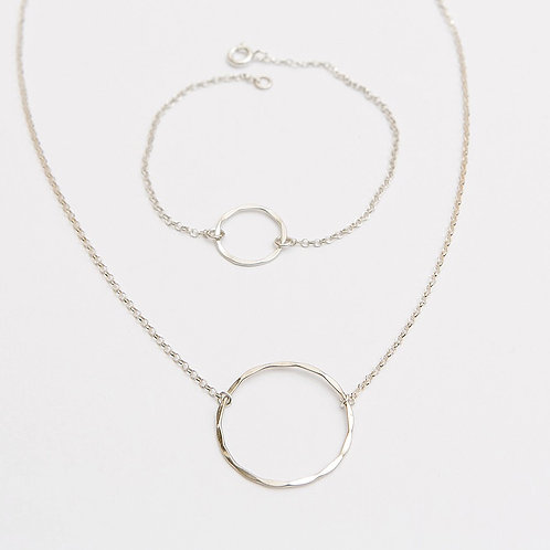Infinity Ring Necklace and Bracelet Set