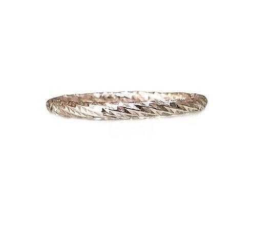 Slim Diamond-Cut Silver Ring
