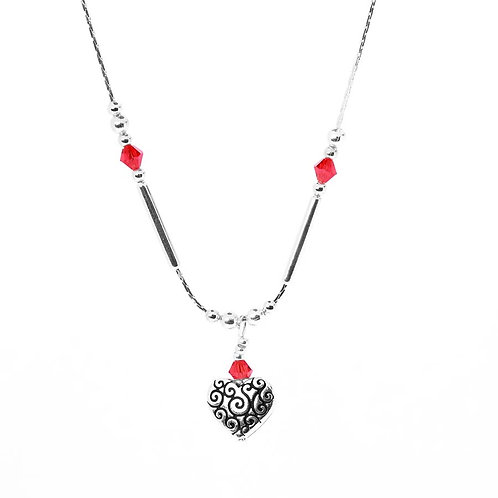 Red Detailed Heart Drop Necklace