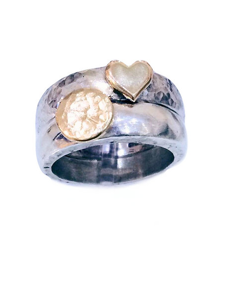 Gold & Silver Chunky Stacking Rings Set