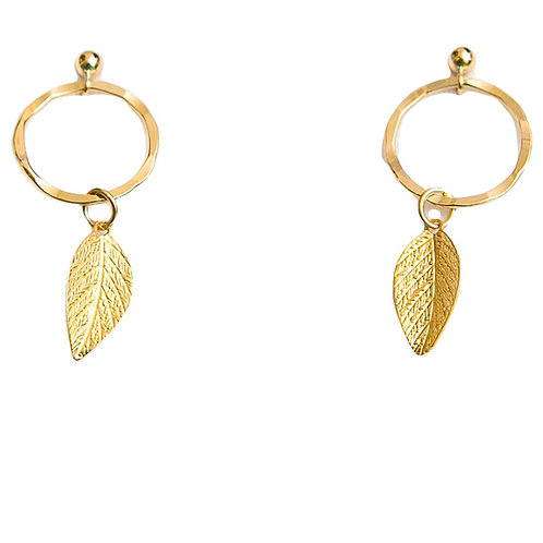 Infinity Ring Earrings With Leaf