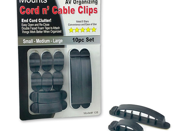 Master Mounts 108 Cord n' Cable Clips, 1 set of 10 clip
