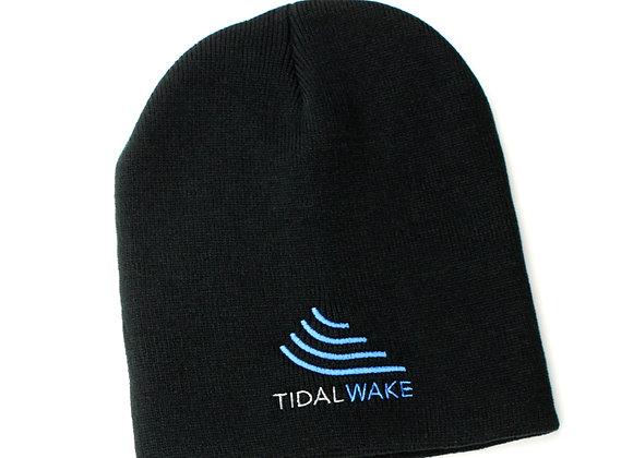 Tidal Wake Knit Beanie Hat, Black, Snug Fit w/ Embroidered Tidal Wake Logo