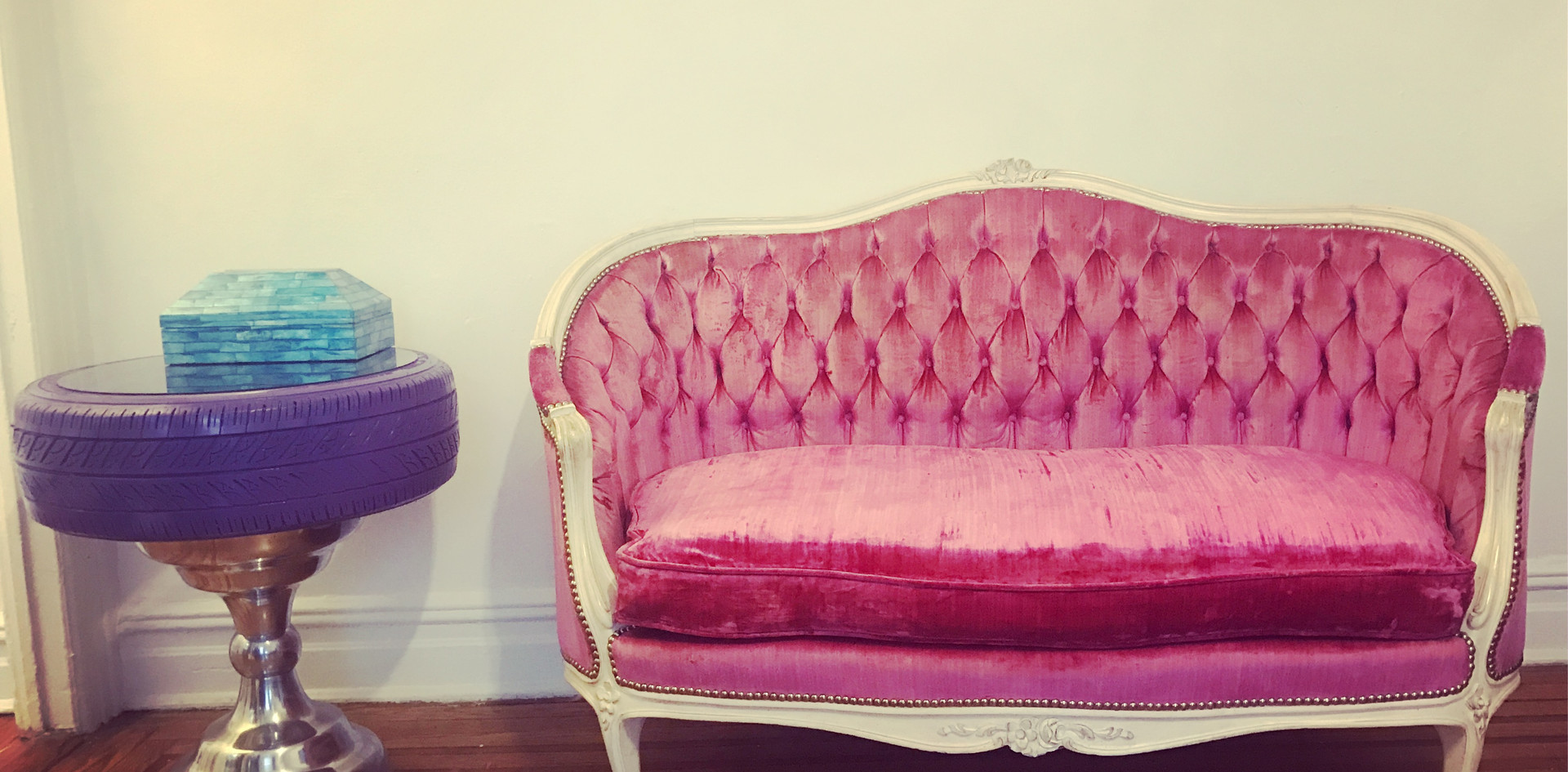 Vintage Couch and Upcycled Tire