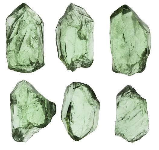 GREEN AMETHYST ROUGH- 100.00 CTS. - 6 PCS.