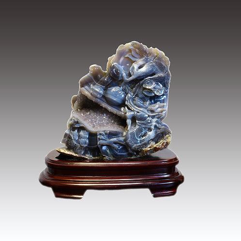 Chalcedony Geode Dragon
