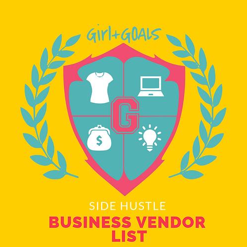 Side Hustle Business Vendor List