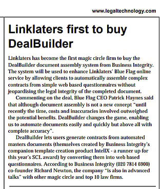 Linklaters buy DealBuilder licence
