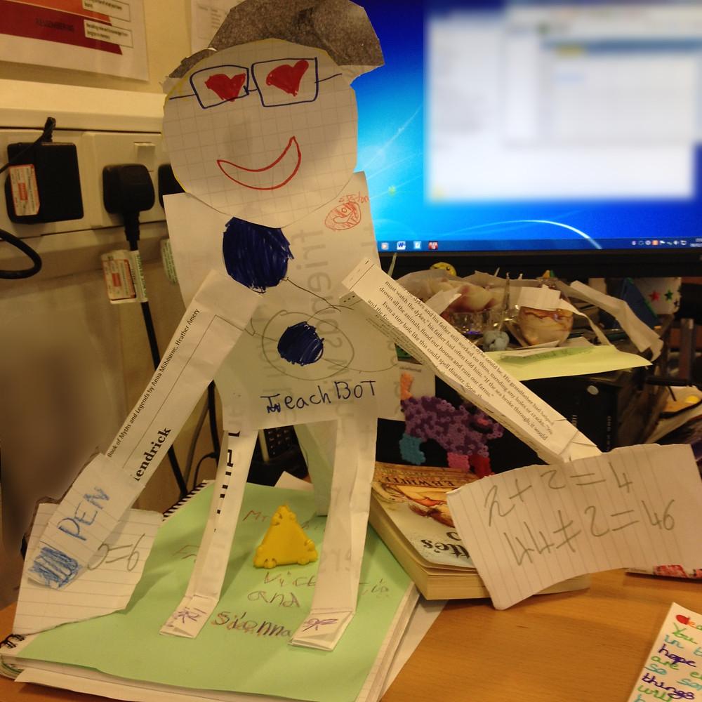 A robot teacher, made by the children