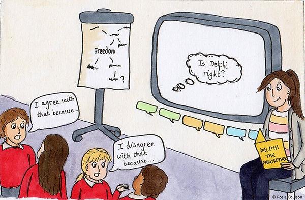 Children discussing philosophy in class