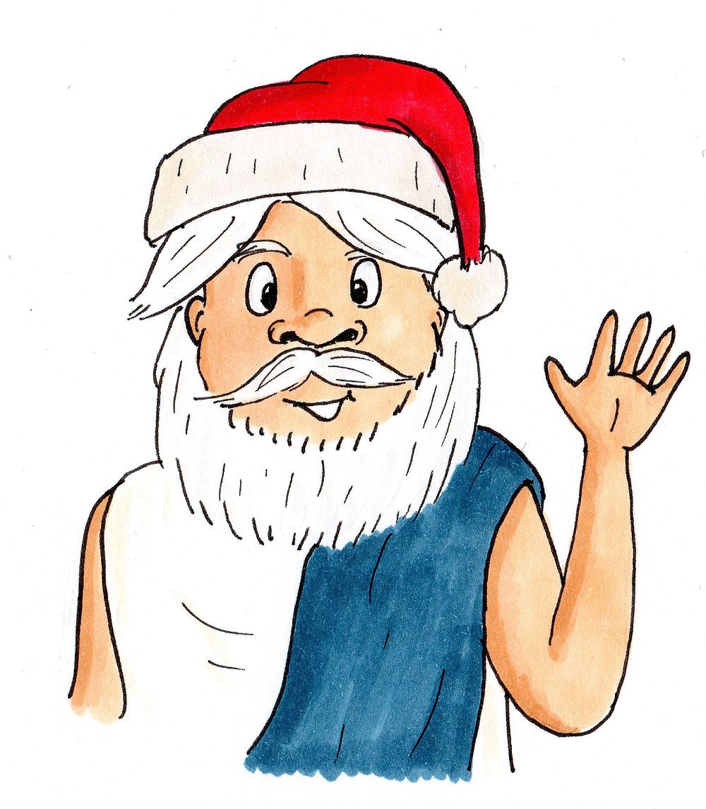 Socrates in a Santa hat