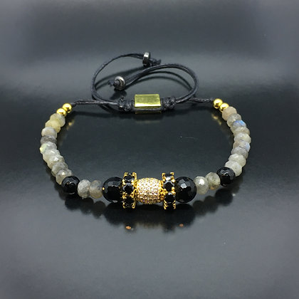 Beaded Bracelet With labradorite,Sapphire  CZ Egg Diamonds
