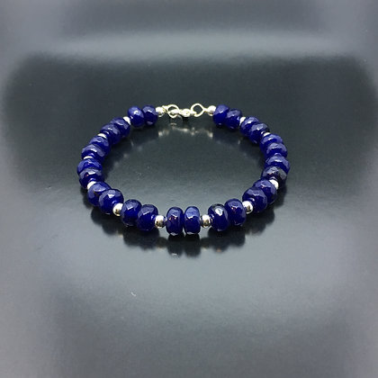 Men's Lapis Bracelet with Silver Bali Clasp Lock