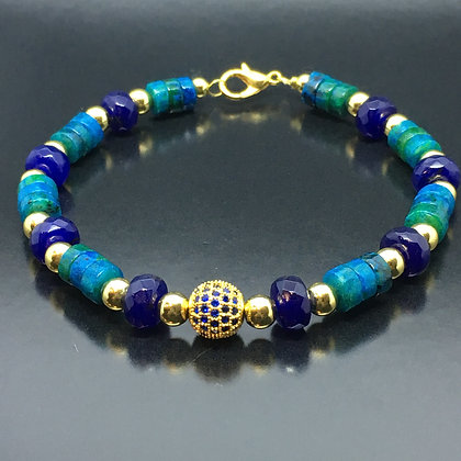 Women's Beaded Bracelet with Lapis Lazuli, Chrysocolla and CZ
