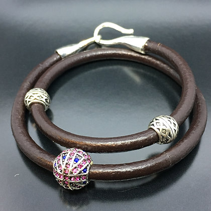 Men's Brown Double-Wrap Leather Bracelet with Silver Hook Lock