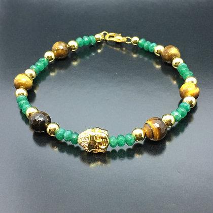Men's Wristband with Tiger Eye, Jade Emeralds and CZ Diamonds Gold Buddha