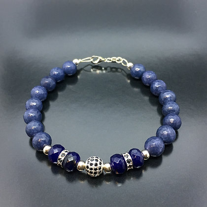 Men's Sapphires,Lapis Lazuli Bracelet and CZ Brack Diamonds