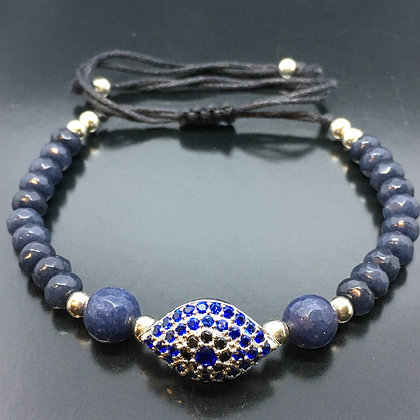 Unissex Beaded Bracelet with Natural Sapphires and Blue CZ Diamond Evil Eye