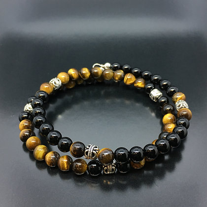 Men's Wrap-Around Bracelet with Onyx, Tiger Eye and Thai Beads