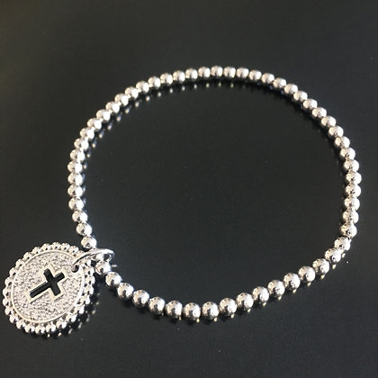 Unissex Sterling Silver Diamond Stretch Beads Cross Cut Out with  Bracelet