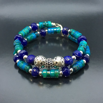 Men's Thai Bracelet with Lapis, Chrysocolla  and CZ Diamonds Silver Thai  Ball