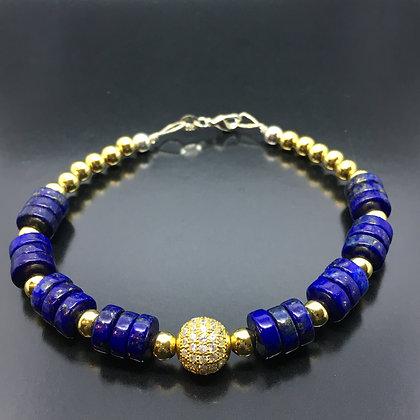 Wisdom Men's Bracelet with Natural Lapis and CZ Diamonds Disc Ball