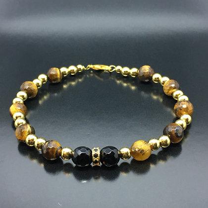 Men's Wristband with Tiger Eye, Onyx Bracelet and CZ Diamonds Gold Disc