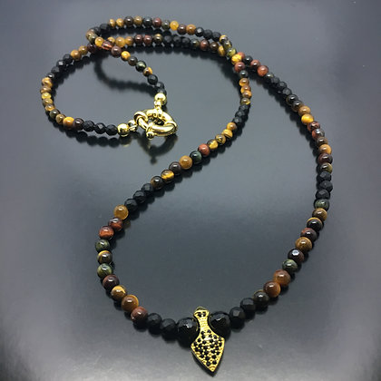 Unissex Beaded Necklace with Brown Tiger Eye, Onyx,  and CZ Gold Arrow