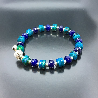 Women's Bracelet with Lapis, Chrysocolla  and Silver  CZ Diamonds Ball