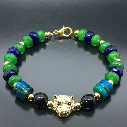 Women's Lapis Lazuli, Onyx, Green Jade, Chrysocolla and CZ Diamonds Cat Bracelet