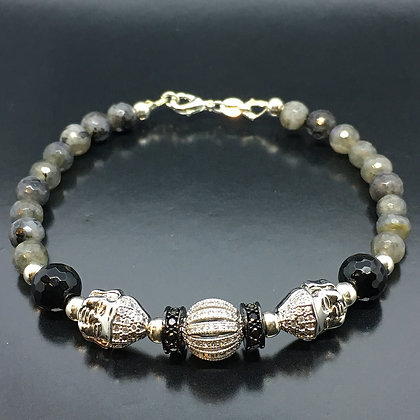 Men's Labradorite,  Onyx Bracelet and CZ Diamonds Buddha