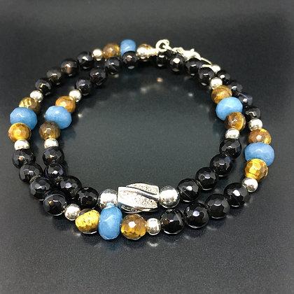 Aquamarine, Brown Tiger Eye, Onyx and Tube CZ Diamonds
