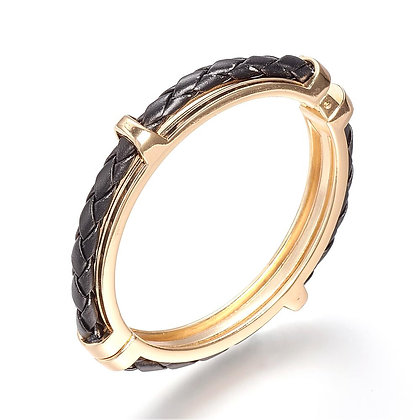 Bangle in Stainless Steel 18K Gold Plating Black Leather Bracelet