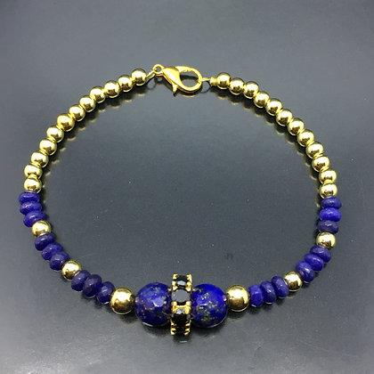 Men's Beaded Bracelet with Lapis and CZ Black Diamonds Gold Disc