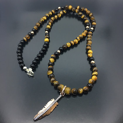 Knowing Eye Men's Necklace with Brown Tiger Eye and Rose Gold CZ Feather
