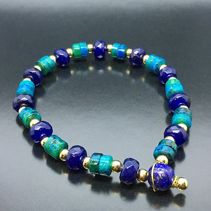 Women's Bangle with Chrysocolla , Lapis Lazuli Bracelet
